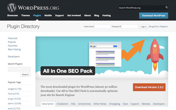 All in One SEO Packの公式ページ